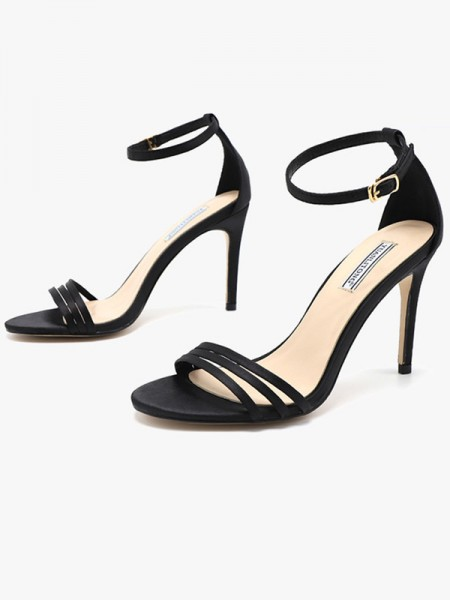dames Silk Stiletto hak Peep Toe Sandalen